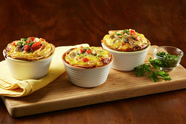 Mini quiche de pan blanco